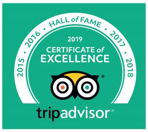 Certificates of Excellence and consistent high scores on TripAdvisor